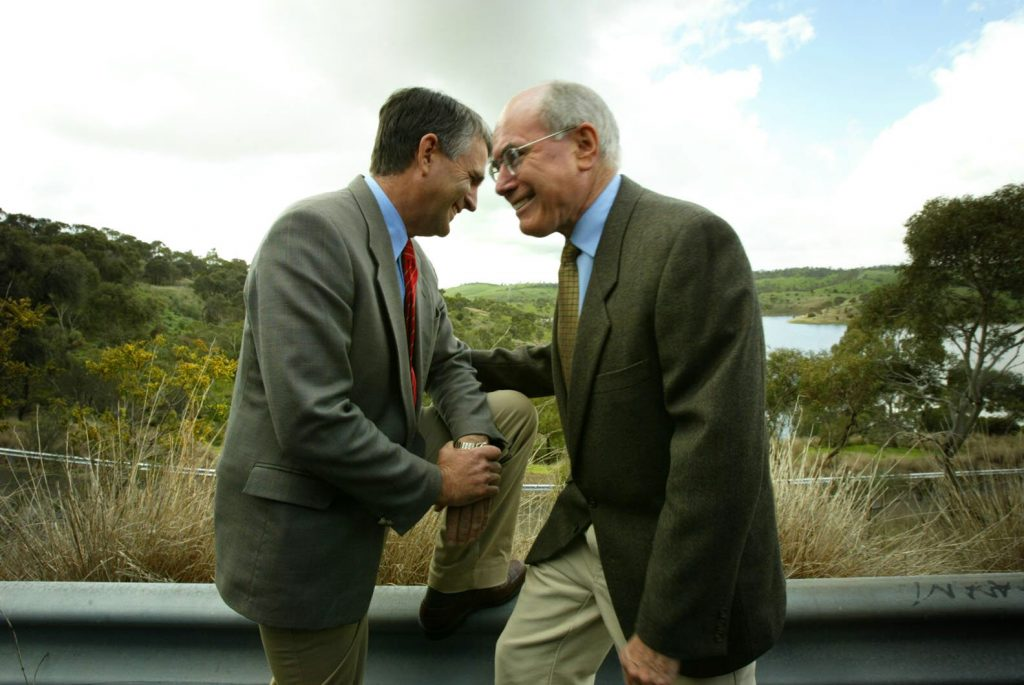 Deputy Prime Minister John Anderson and Prime Minister John Howard at a water policy announcement by a little para reservoir in Gould Creek, Adelaide, 13 September 2004.