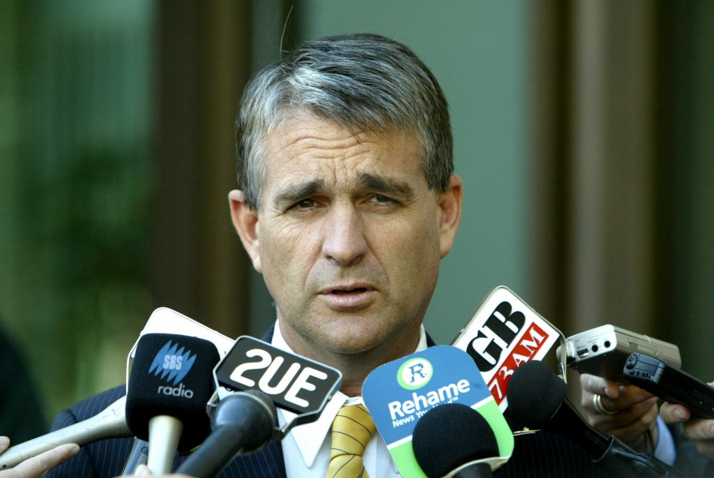 Deputy Prime Minister John Anderson commenting on the Cape York plane crash today at Parliament House in Canberra Monday 9 May 2005. SMH NEWS Picture by PENNY BRADFIELD